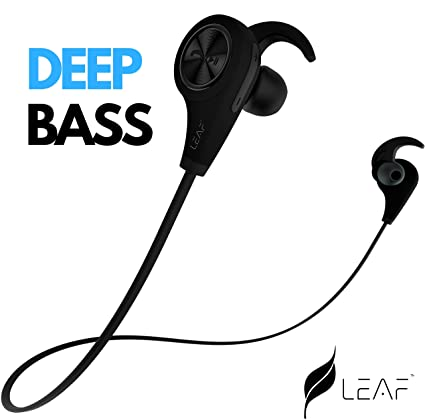 Leaf ear wireless bluetooth earphones with mic and deep bass carbon leaf ear wireless bluetooth earphones with mic and deep bass carbon black fandeluxe Images