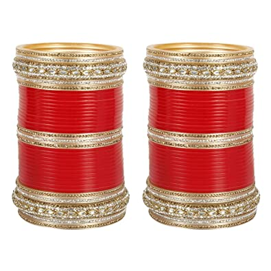 MUCHMORE Wedding Red Color Crystal Chura/Choora with Bangle Kada Set Partywear Jewellery for Women AAWAQxQoYJ