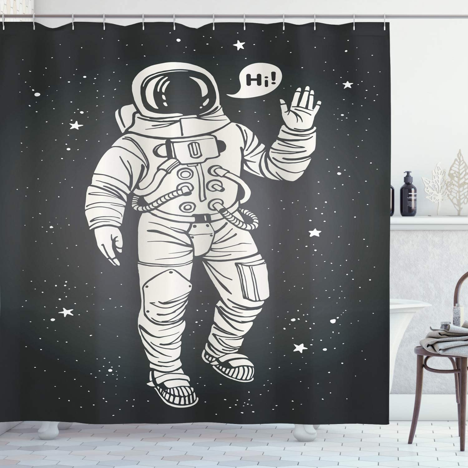 Ambesonne Outer Space Shower Curtain, Pop Art Astronaut Saluting with Speech Bubble Comet Adventure Traveler, Cloth Fabric Bathroom Decor Set with Hooks, 84
