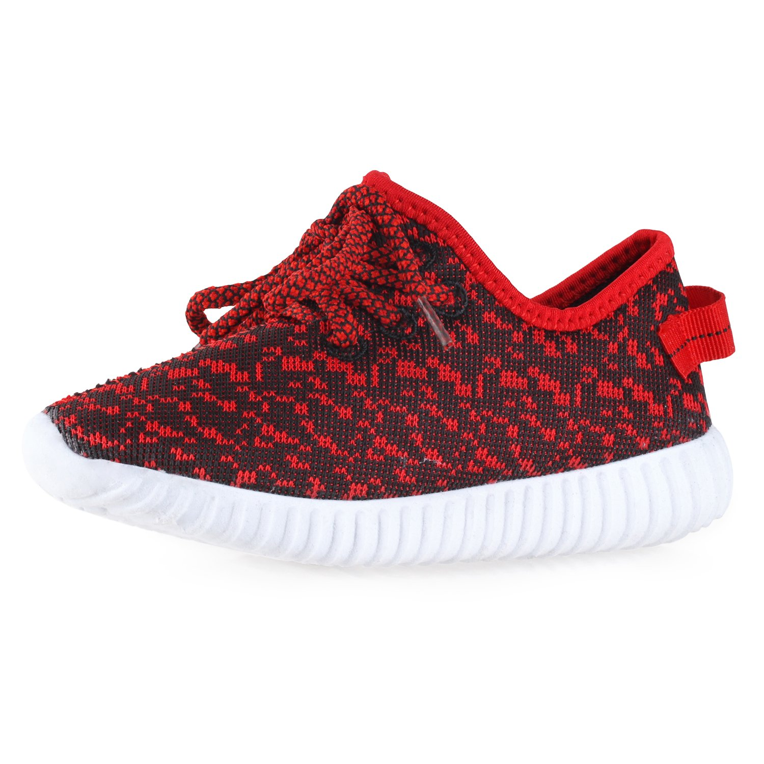 BLINX Girls Jogger Woven Knit Upper Casual Sneakers Shoes Black/Red 13