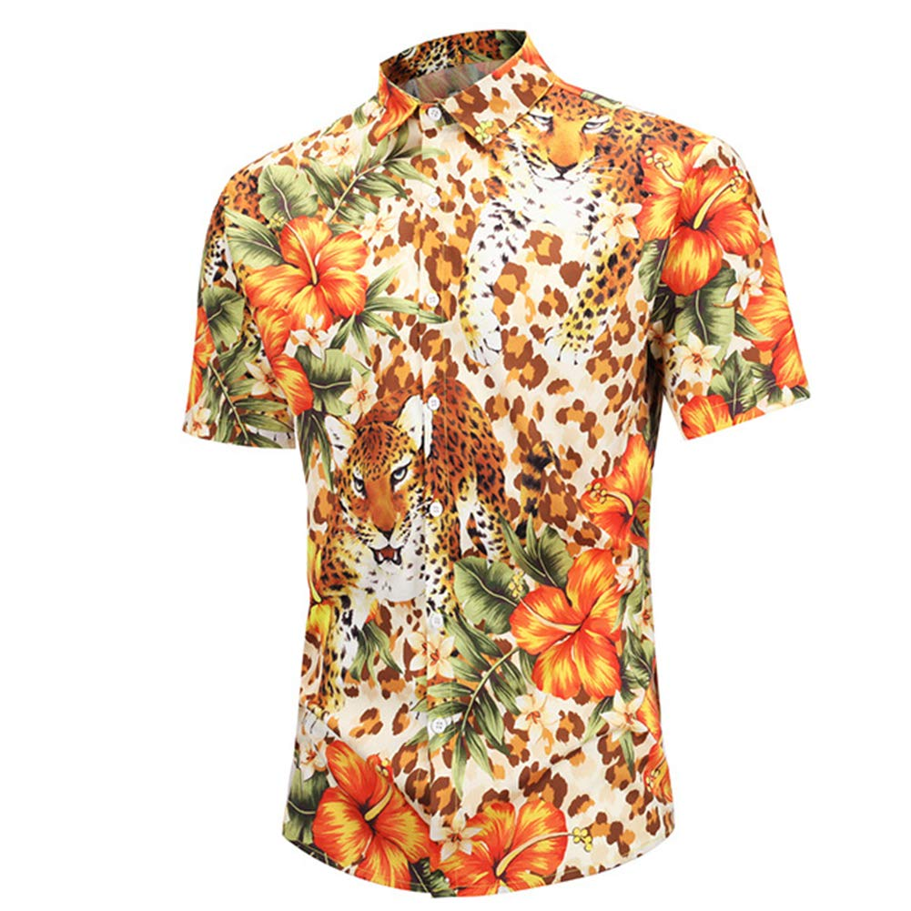 Starlit Hawaiian Summer Mens All-Match Leopard Flower Print Turn Down Short Sleeve Shirt Top XL