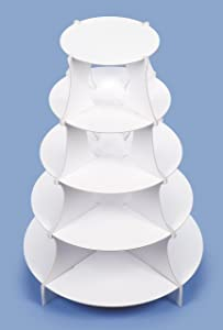"5 Tier Round Paper Dessert Tower or Cupcake Stand - 15"" X 20"""