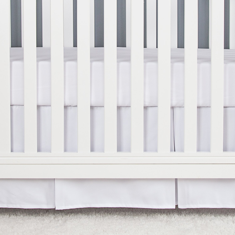 TILLYOU Microfiber Crib Skirt Pleated, Herringbone Jacquard Nursery Crib Bedding Skirts for Baby Boys and Girls, 14'' Drop White