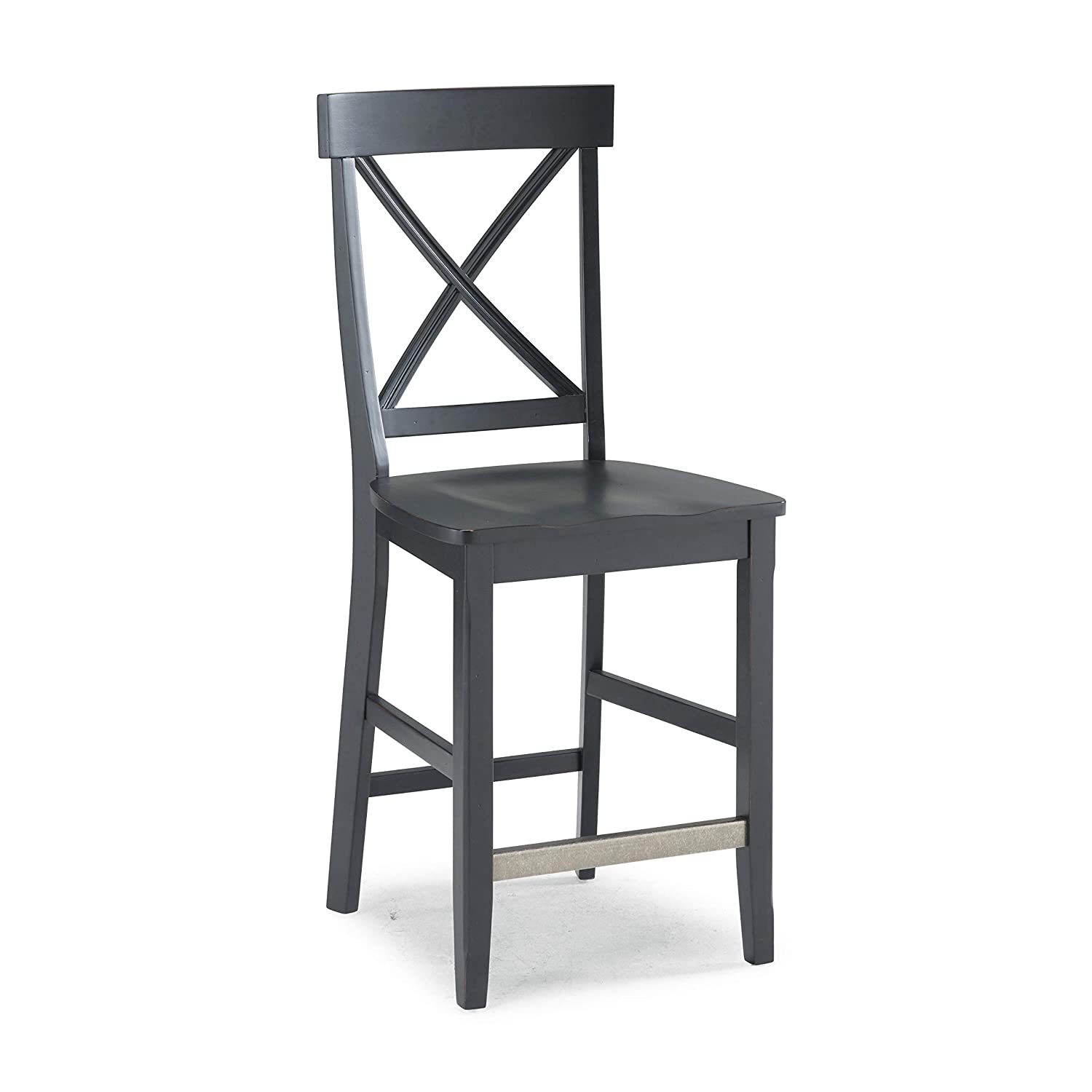Home Styles 5033-89 Nantucket Bar Stool, Distressed Black Finish, 24-Inch