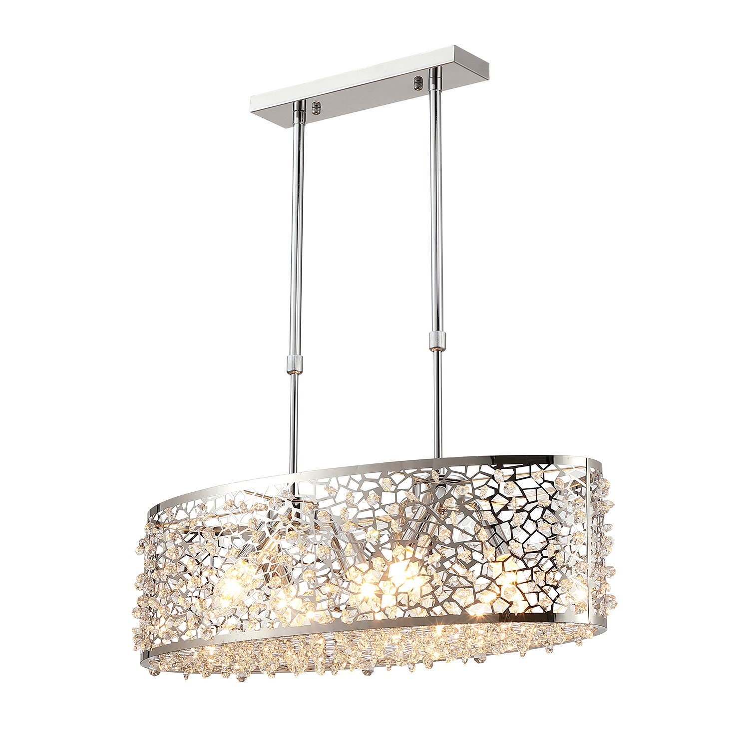 Saint Mossi Modern K9 Crystal Oval Chandelier Lighting Flush Mount LED Ceiling Light Fixture Pendant Lamp for Dining Room Bathroom Bedroom Livingroom 6 E12 Bulbs Required H10in x W7in x L24in