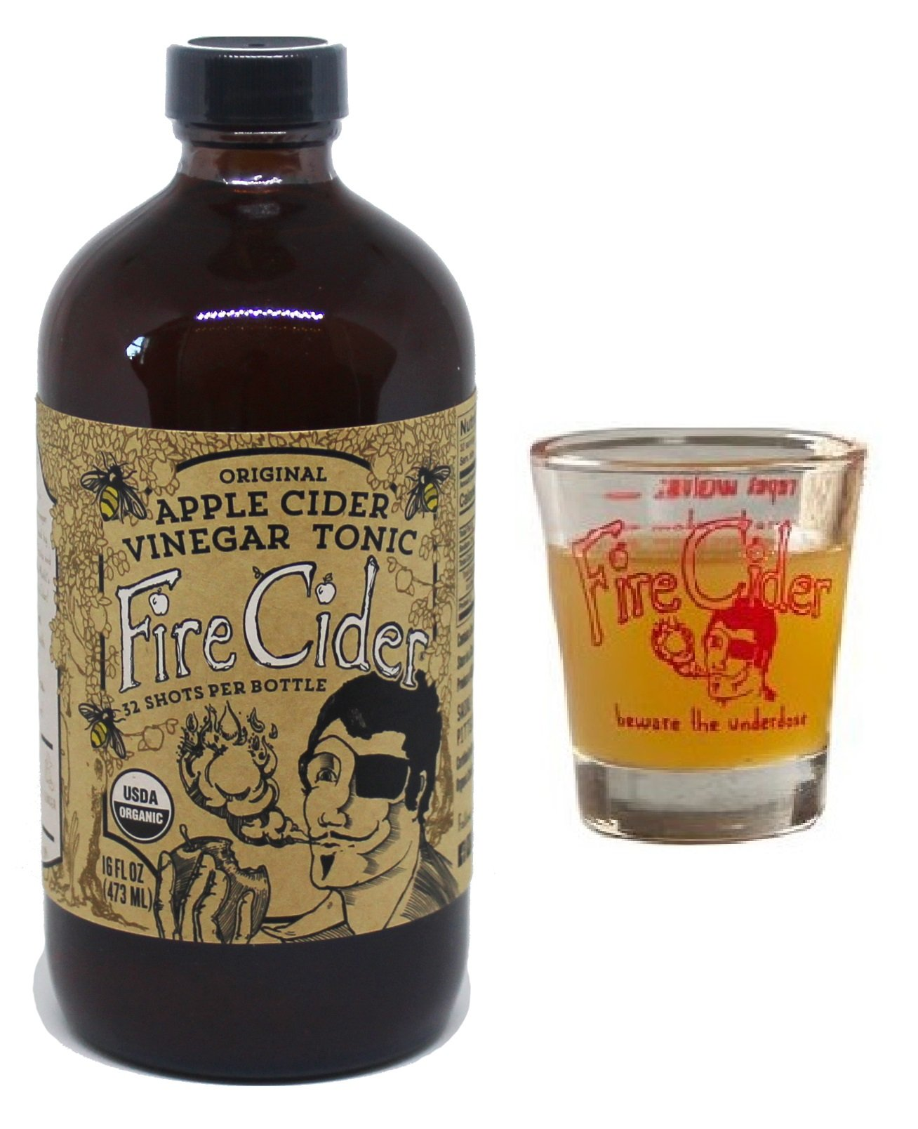 Amazon fire cider apple cider vinegar and honey tonic 16 oz fire cider apple cider vinegar honey tonic with free dosage shot malvernweather Image collections
