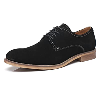 La Milano Suede Lace Up Leather Oxfords Classic Comfortable Modern Plain Toe Dress Shoes for Men | Oxfords
