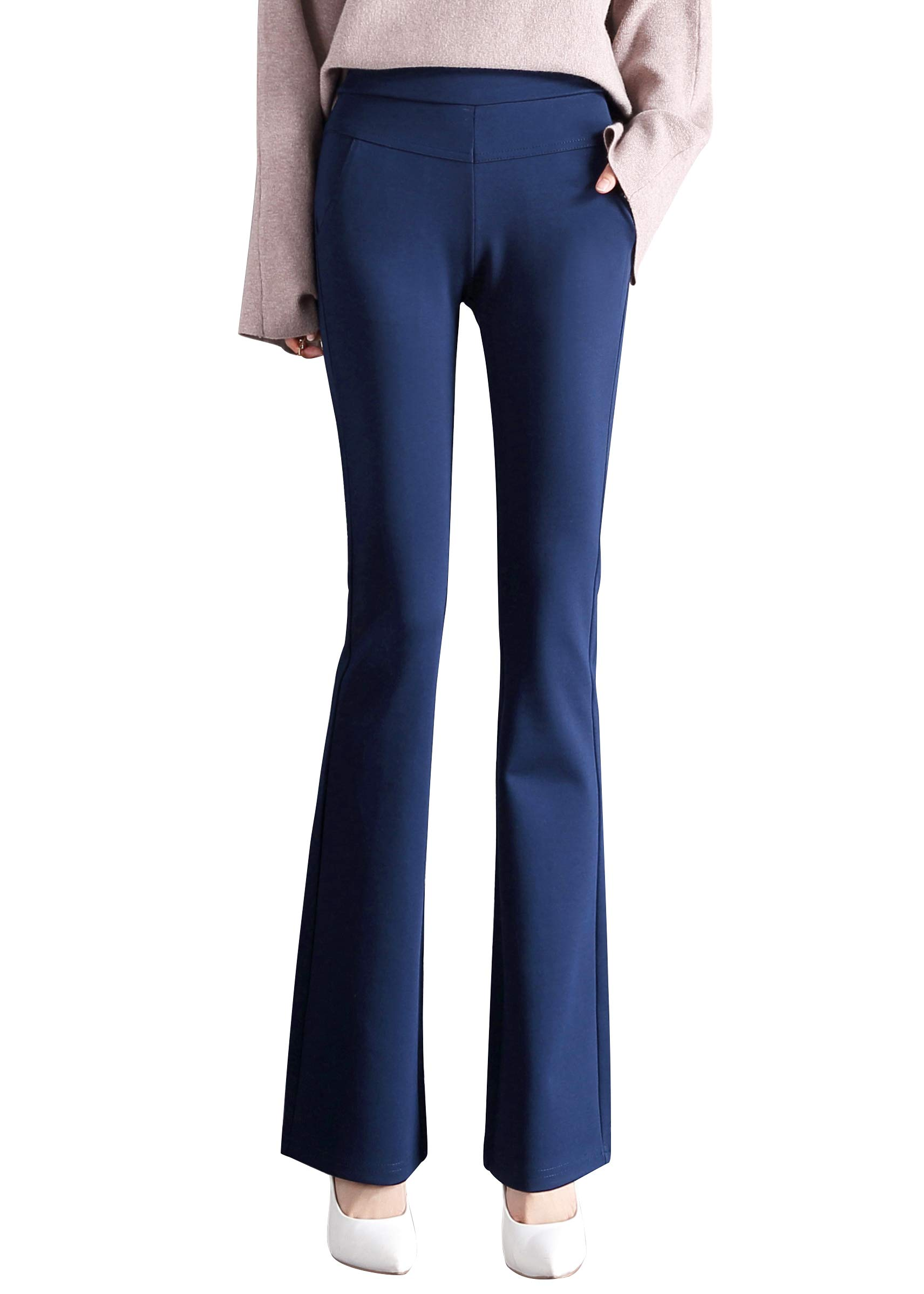 Smibra Womens Simple Dress Pants Stretchy All Around Comfort Boot Cut Pull On Slacks