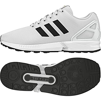 d9e6fd6ff6a9 adidas Men s ZX Flux White Black Gold Metallic Running Shoes BA8655 7.5