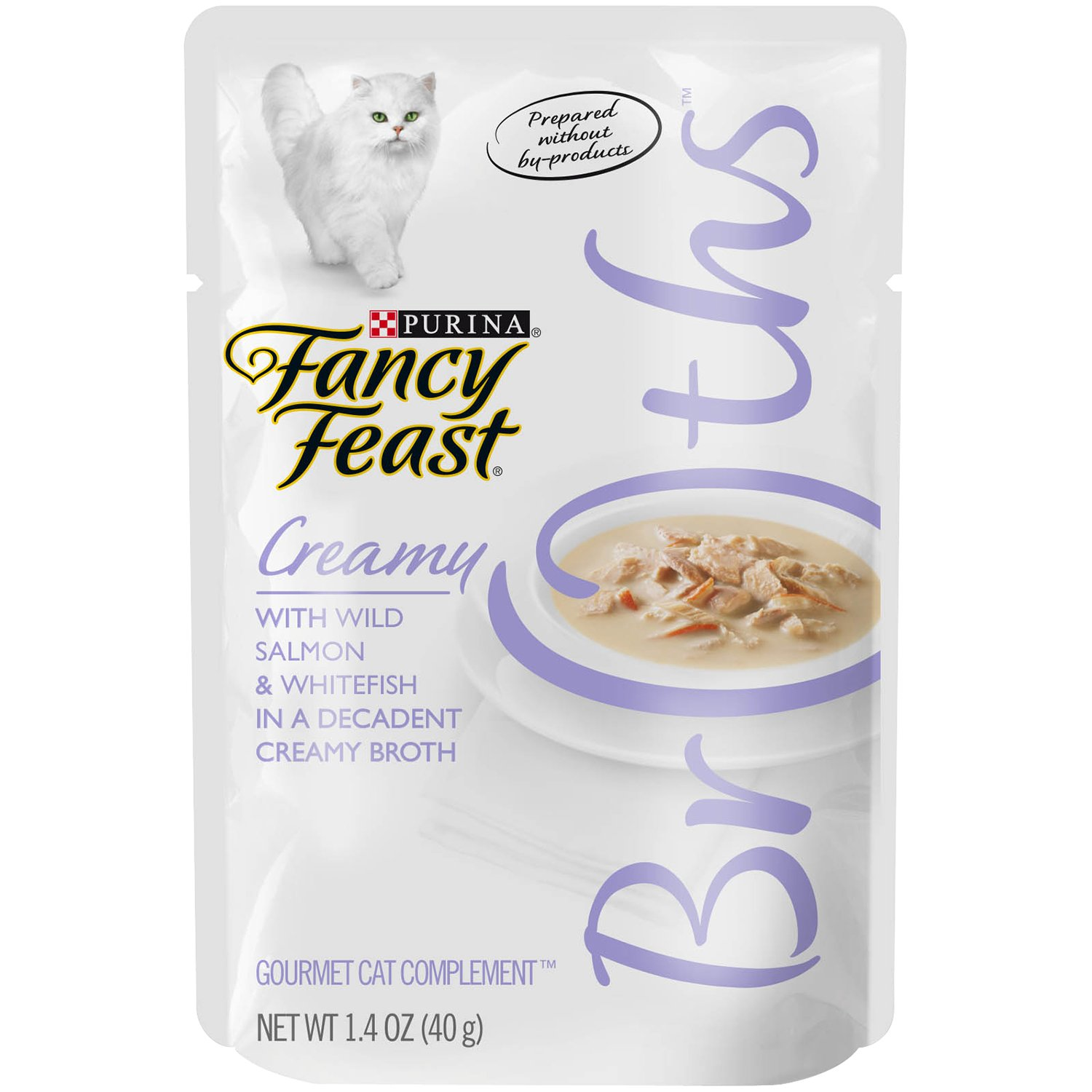 Purina Fancy Feast Broths for Cats, Creamy, With Wild Salmon and Whitefish, 1.4-Ounce Pouch, Pack of 32