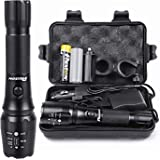 Rechargeable Tactical Flashlight High Lumens LED 18650 5000mAh Battery Charger USB Cable Gift Box Included L2 Waterproof Big