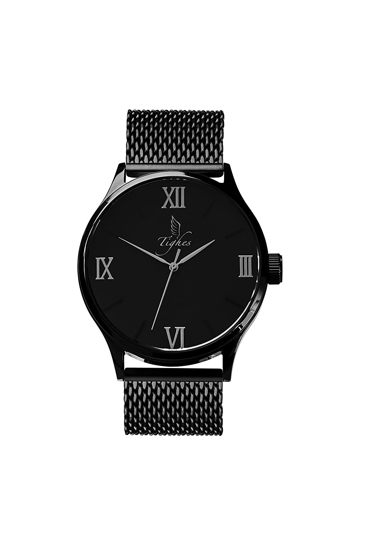 tighes Herren Fashion Swiss Quarz-Armbanduhr mit Edelstahl Armband
