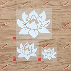 Lotus Flower Yoga Buddha India Decal Vinyl Sticker - 3 Pack White, 2 Inches, 3 Inches, 5 Inches - Die Cut No Background for Car Boat Laptop Cup Phone
