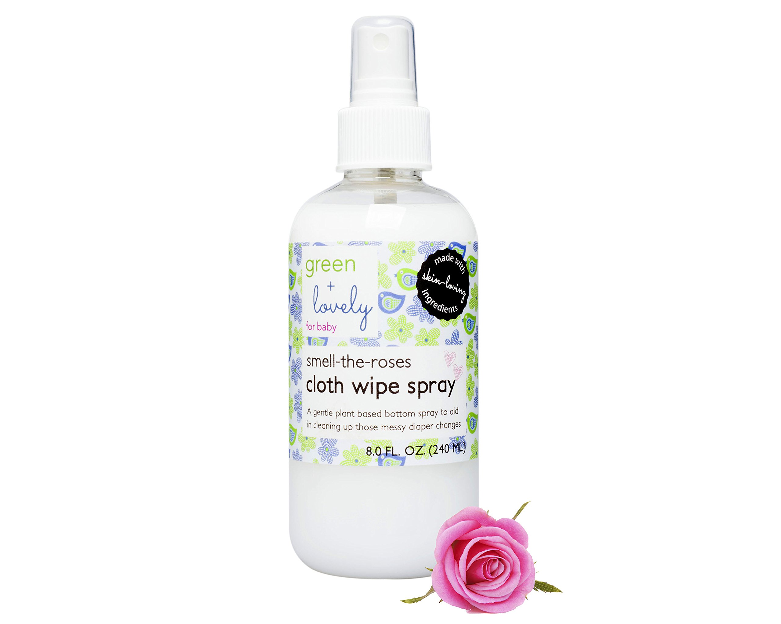 Smell the Roses Cloth Wipe Spray, 8 fl. oz. - Plant-based Baby Bottom Wash and Cleaner made with All-Natural and Organic Ingredients by Green and Lovely