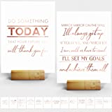 """Inspiring Desk Decor for Office - 15 Rose Gold Stamped Inspirational Desk Art Cards + Size 7x5"""" inches - Perfect Office Decor"""