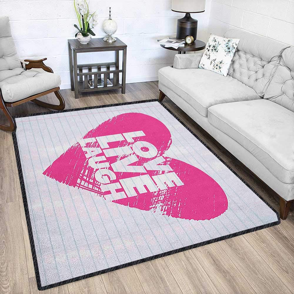 Live Laugh Love Modern Area Rug with Non-Skid,Notebook Style Backdrop with a Giant Heart and a Motivational Phrase Decor Carpet Popular Colors Hot Pink White 79''x95'' by Philip C. Williams