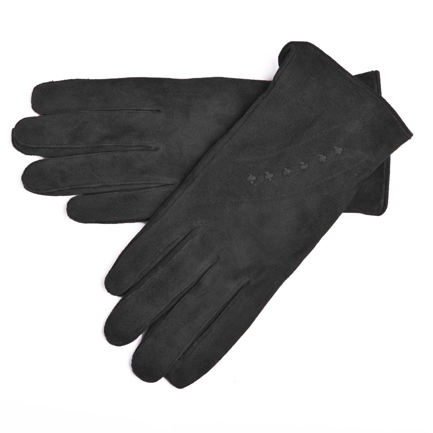 Lambland Ladies Genuine Suede Gloves with Fleece Lining and Stitching Detail in Black Size Medium