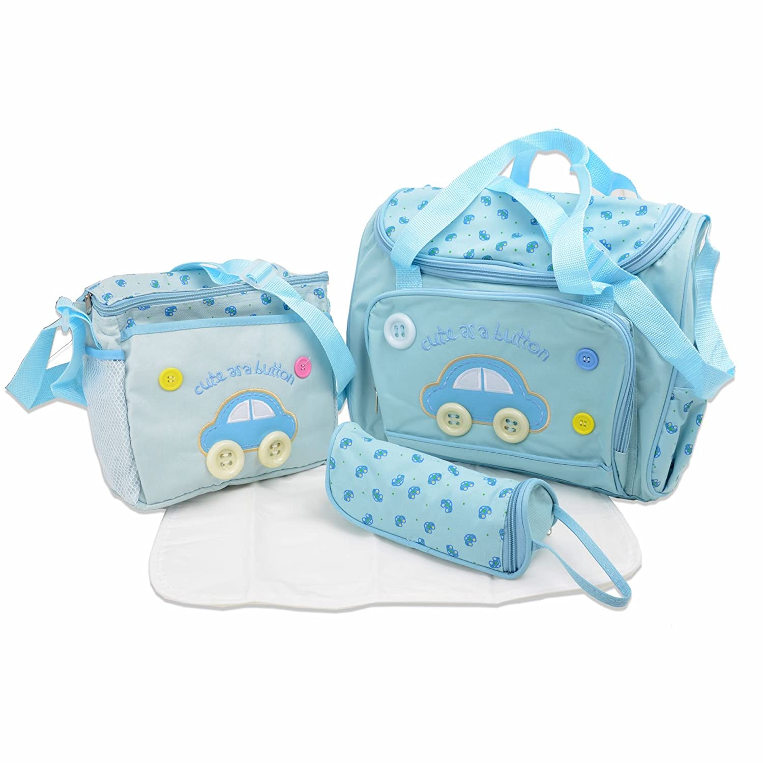 Cute as a Button - 4 piece Nappy Changing Baby Diaper 4pcs Bag set - including Change mat (Dark Blue) Babyhugs Babyhugs-0136