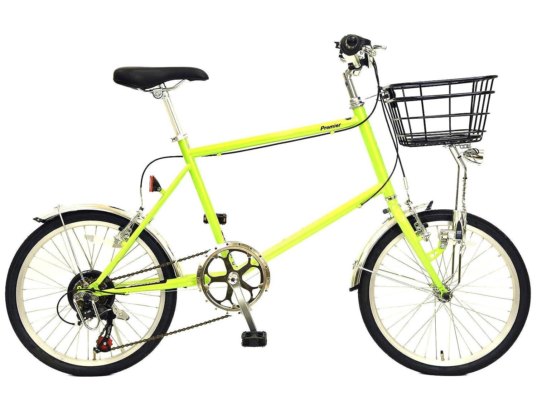 自転車 20インチ ミニベロ プレミア グリーン シマノ6段変速 LEDライト B076BKVFWP