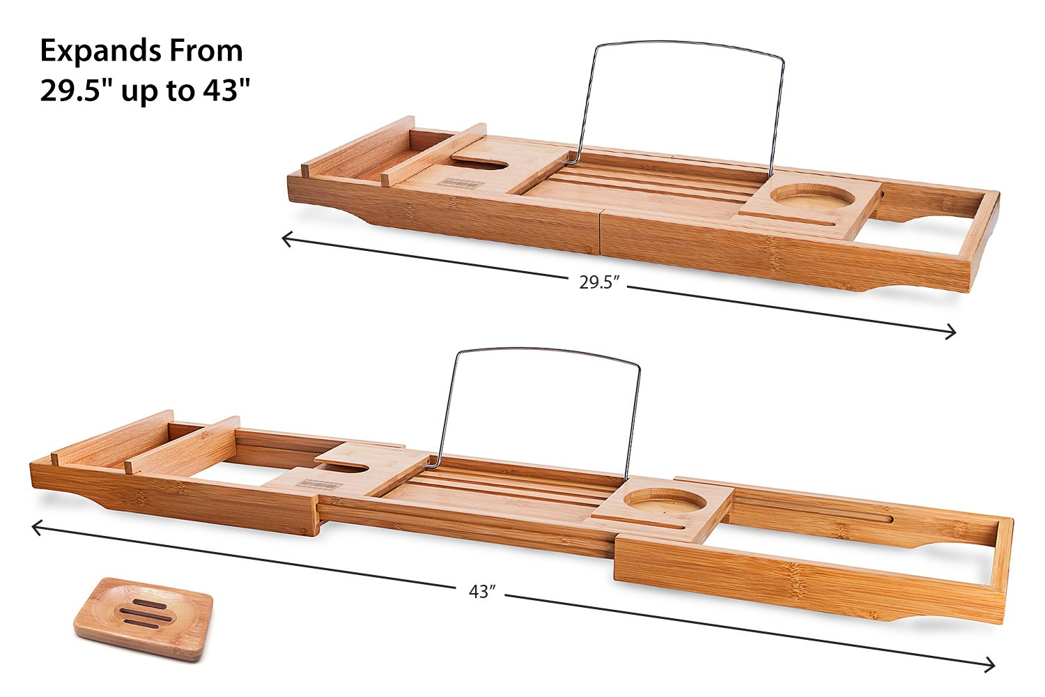 OCENGS Bamboo Bathtub Caddy Tub Tray with Extendable Sides and Bonus ...