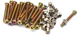 Antrader M6 x 50mm Zinc Plated Bolt Nut Set Furniture Cot Bed Hex Drive Socket Cap Bolt Screws Allen Head with Barrel Nut Metric, Set of 24