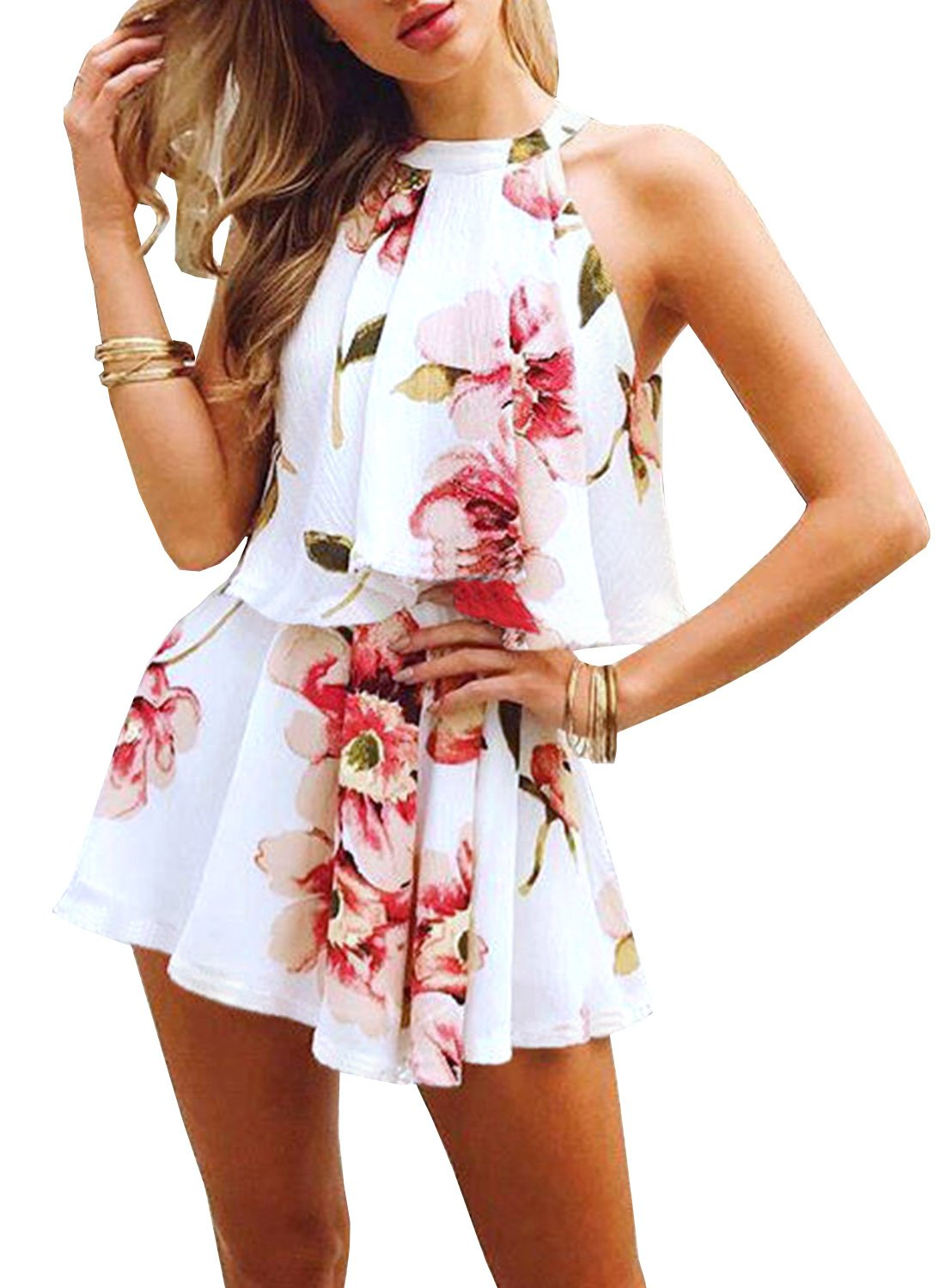 Futurino Women's Floral Print See Through Two Piece Beachwear Outfit Set ONY0705-CA