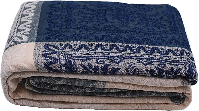 """AIVIA Boho Throws Blankets for Bed Couch, Colorful Navy Cream Soft Chenille Woven Luxury Living Room Bedroom Throw Sofa Recliner Furniture Cover w/Bohemian Fringe Tassels - 60"""" x 75"""""""