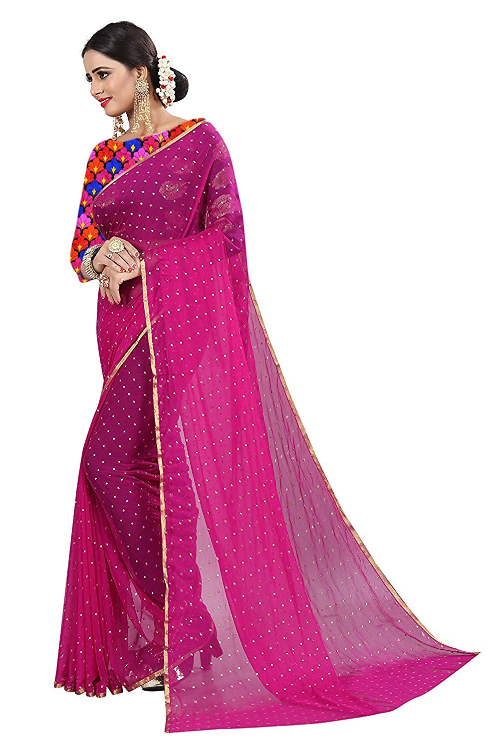 3aeeaa5cf960e Krishna Adv Women s Chiffon Saree with Blouse Piece (Pink   Gold)  Amazon.in   Clothing   Accessories