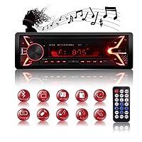 Autoradio Bluetooth ricevitore, QINFOX Lettore MP3 auto, universal autoradio MP3 stereo 7 colori LCD autoradio lettore con Bluetooth/USB/SD/AUX/FM con pannello rimovibile