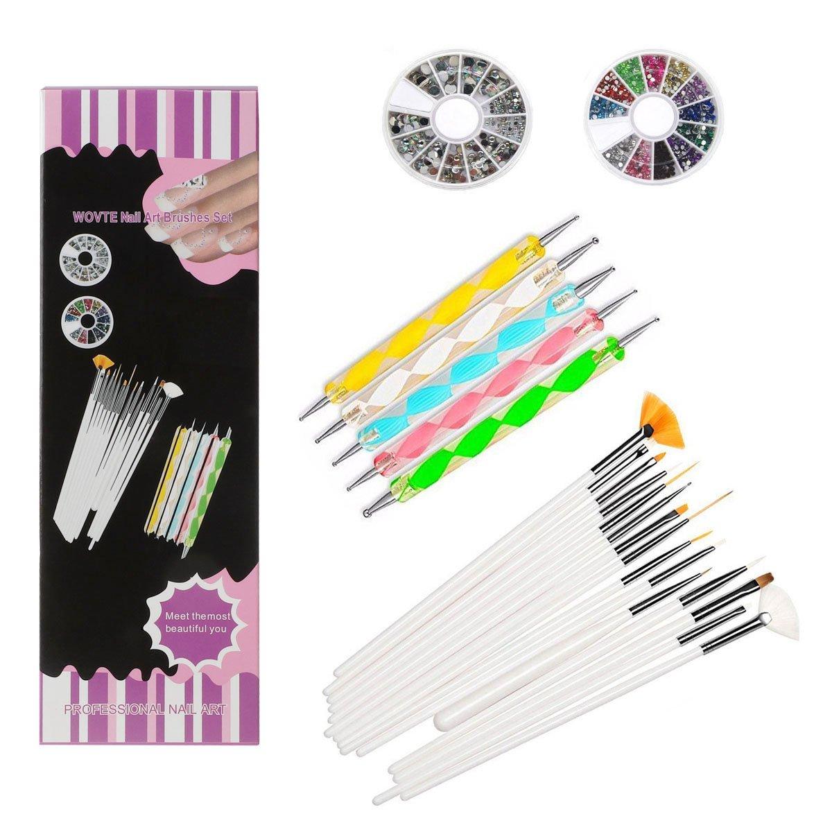 Amazon.com : WOVTE Nail Art and Gel Acrylic Drawing Makeup Brush Set ...
