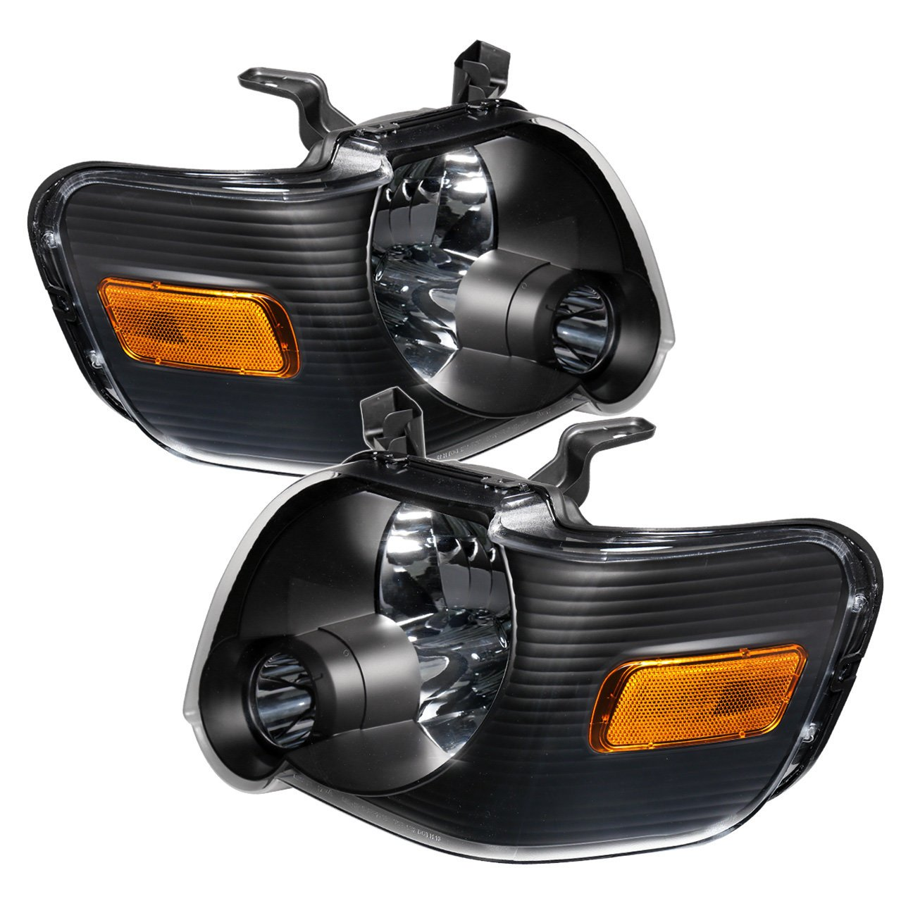 Fits Ford Explorer Sport Trac Front Driving Black Housing Amber Reflector Headlight Head Lamp Upgrade Replacement by AJP Distributors (Image #4)