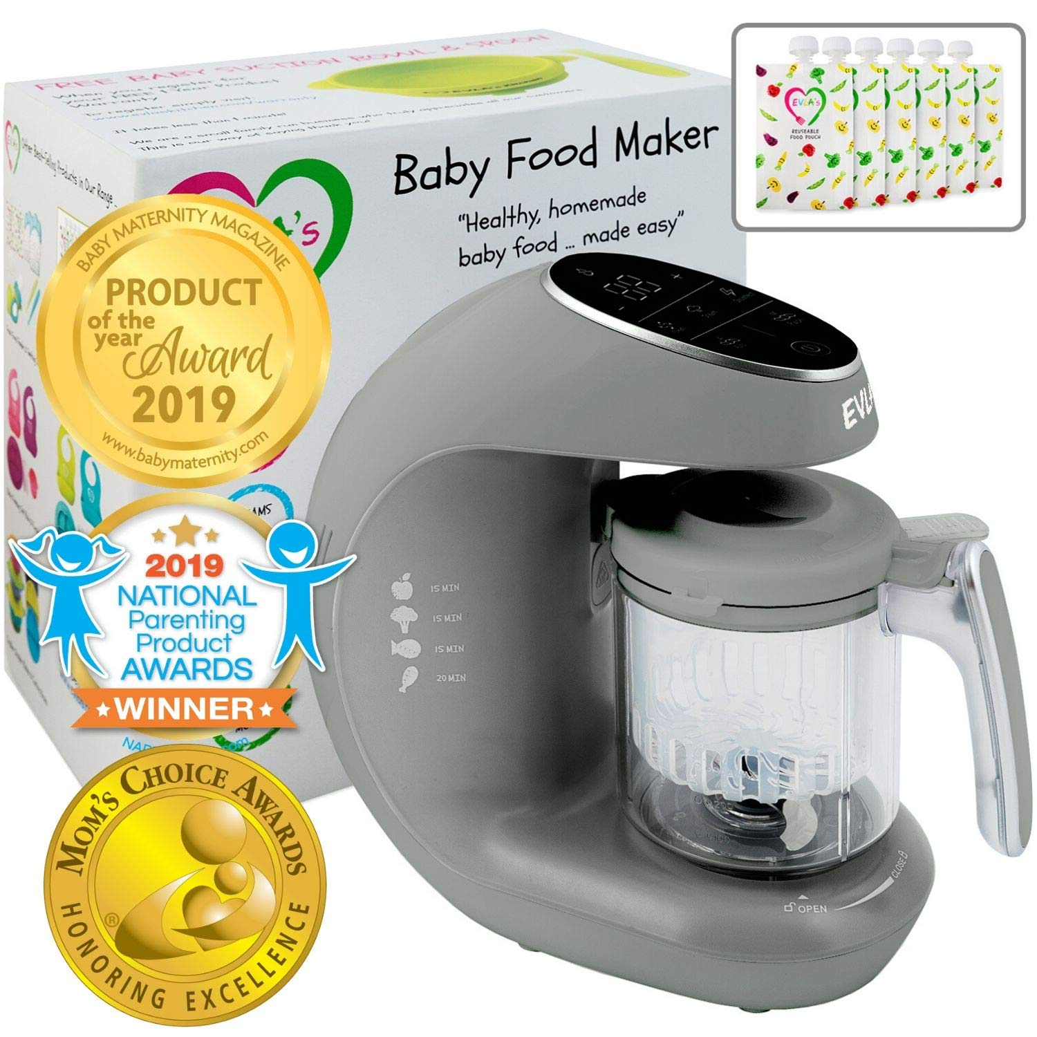 Baby Food Maker | Baby Food Processor Blender Grinder Steamer | Cooks & Blends Healthy Homemade Baby Food in Minutes | Self Cleans | Touch Screen Control | FDA Approved | 6 Reusable Food Pouche