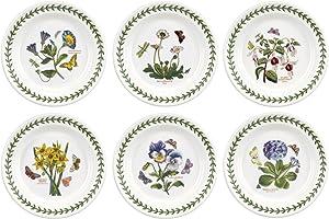 """Portmeirion Botanic Garden Side Plate, 6.5"""", Set of 6 Assorted, White"""
