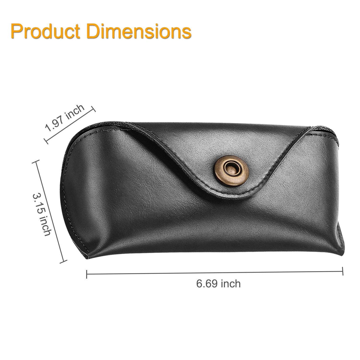Fintie Portable Sunglasses Case, Semi-Hard Vegan Leather Glasses Carrying Case Eyewear Pouch with Snap Button Closure by Fintie (Image #4)