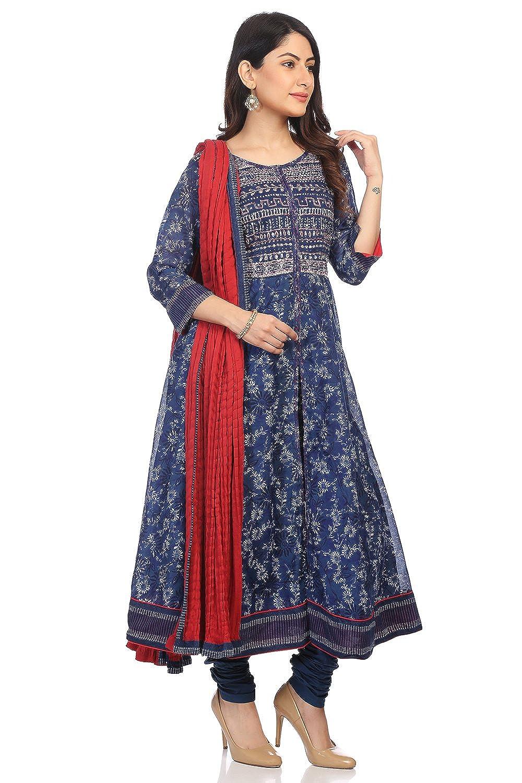 BIBA Womens Blue Polyster Salwar Kameez Dupatta
