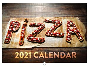 Pizza Lover Food 2021 Wall Calendar 12 Month Monthly Full Color Thick Paper Pages Folded Ready to Hang 18x12 inch