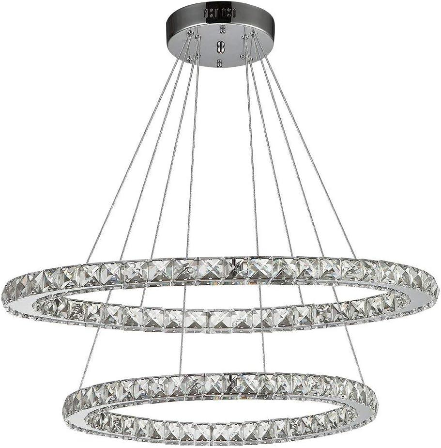 Ikakon Crystal Chandeliers 2 Round Rings DIY LED Pendant Lamp Modern Ceiling Lights Fixtures Adjustable Cable Chandelier Lighting for Living Room Bedroom Dining Room