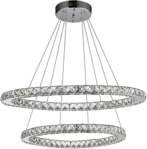 Ikakon Crystal Chandeliers 2 Round Rings DIY LED Pendant Lamp Modern Ceiling Lighting Fixtures Adjustable Cable Chandelier