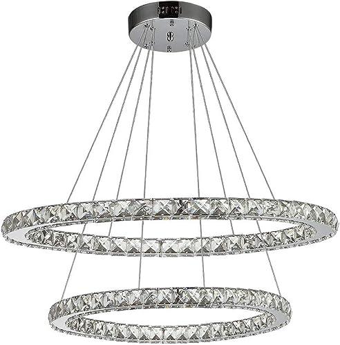 Ikakon Crystal Chandeliers 2 Round Rings DIY LED Pendant Lamp Modern Ceiling Lighting Fixtures Adjustable Cable Chandelier