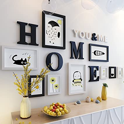 WollWoll Home Word Animal Theme Modern Design Large Wall Decoration Photo  Frame Set (155 Cm