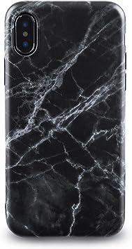 Oveo® Coque pour iPhone X/XS en Silicone Ultra Fine, Motif marbre Noir, Homme/Femme/Garçon/Fille