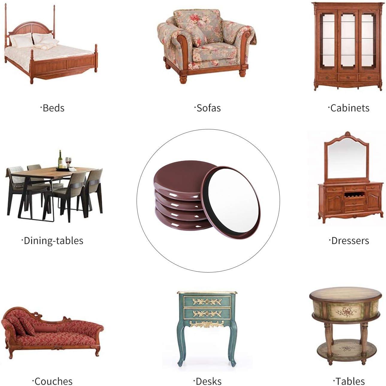 Brown Round,40 PCS Ezprotekt Furniture Sliders for Carpet Sliders 1-1//8 Inch for Moving Furniture Movers Carpet Gliders Glides Self-Adhesive Furniture Moving Pads