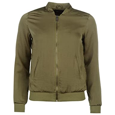 2838d8df5a41 Golddigga Womens Lightweight Bomber Jacket Top Coat Long Sleeve Crew Neck  Khaki (M) 12: Amazon.co.uk: Clothing
