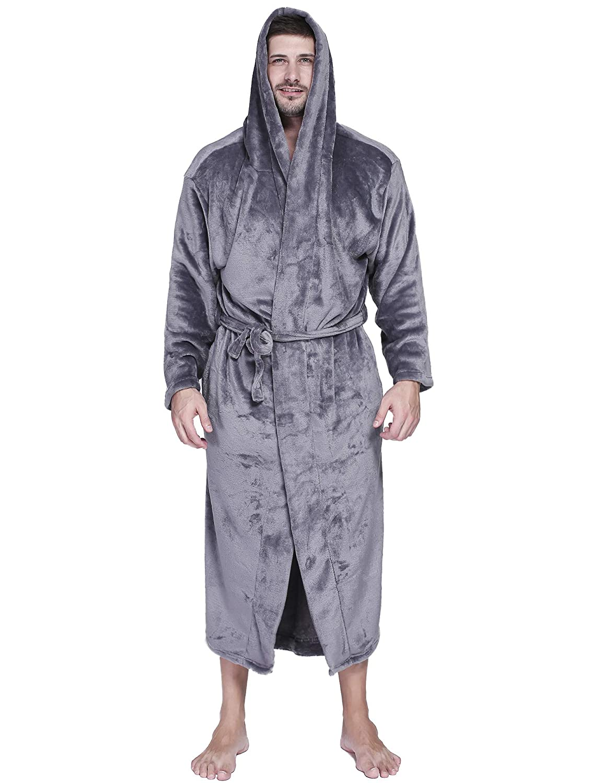 c5f6371264 Amazon.com  Aibrou Mens Robes Big and Tall Plush Long Hood Fleece Bathrobe   Clothing