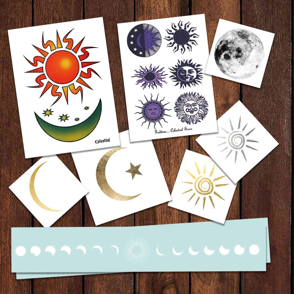 Sun and Moon Pack Temporary Tattoos | Skin Safe | MADE IN THE USA| Removable