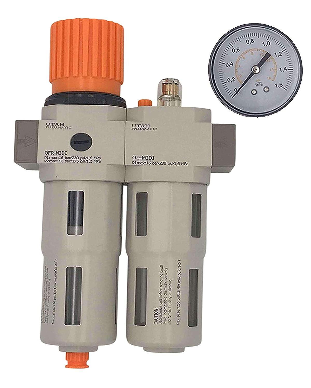 "Utah Pneumatic 0.25"" Air Drying System Filter Regulator Lubricator - Air Particulate Filter 5 Micron Coalescing Filter Modular Combo 1/4"" NPT - Manual Drain, Poly Bowl Rate 1700 L/Min"