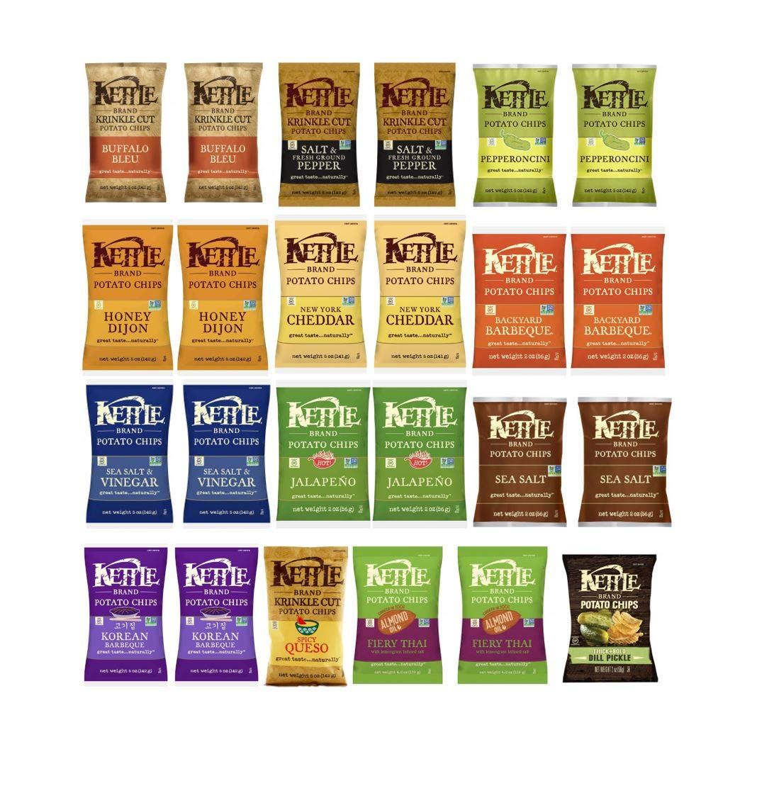 Kettle Chips 12 Flavor Variety Pack 2 per flavor (1.5oz 24pk) by Kettle Brand