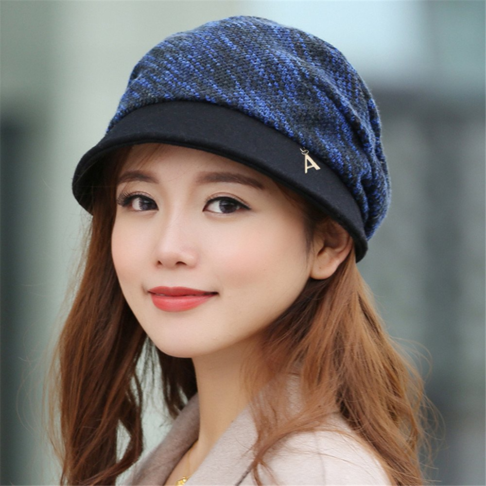 Una donna di hat e femmina in autunno e in inverno il cappuccio del bacino, Fisherman Hat Beret Fashion Ladies Hat Lady Caldo berretto tappo ottagonale può essere regolato per circonferenza testa: 54cm-58cm,regolabile, blu grigio