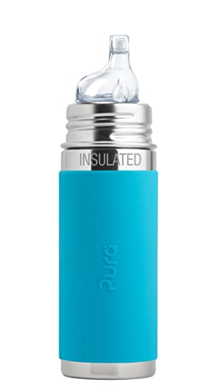 Sippy, Aqua - Pura Kiki 9 oz // 260 ml Stainless Steel Insulated Sippy Cup with Silicone XL Sipper Spout /& Sleeve Aqua Plastic Free, NonToxic Certified, BPA Free