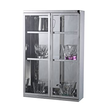 Homcom Stainless Steel Wall Mounted Cupboard Bathroom Glass Cabinet
